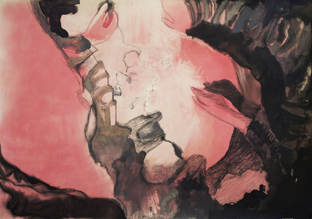 """""""Remains: Light from the Ruins II,"""" 2013. Sumi and India inks, acrylic, pastel, charcoal on murillo paper, 27½"""" x 39."""""""
